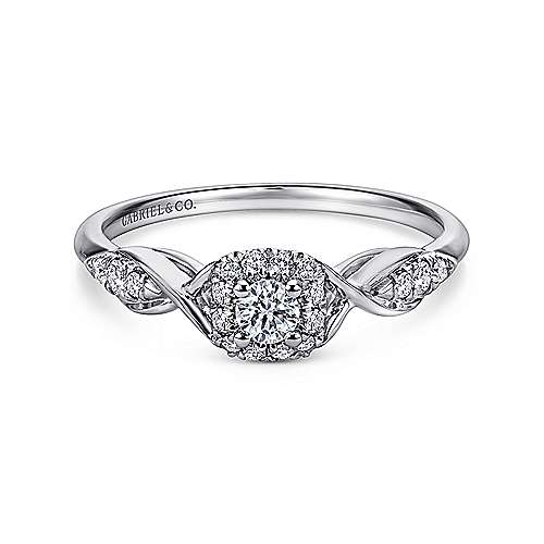 Gabriel - Cooper 14k White Gold Round Halo Engagement Ring