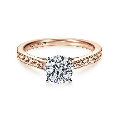 Gabriel - Cora 14k White And Rose Gold Round Solitaire Engagement Ring