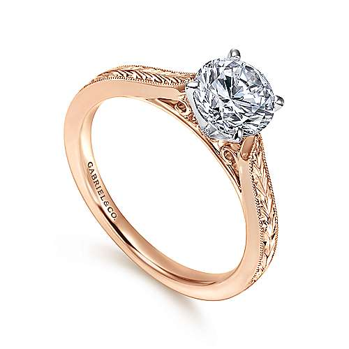 Cora 14k White And Rose Gold Round Solitaire Engagement Ring