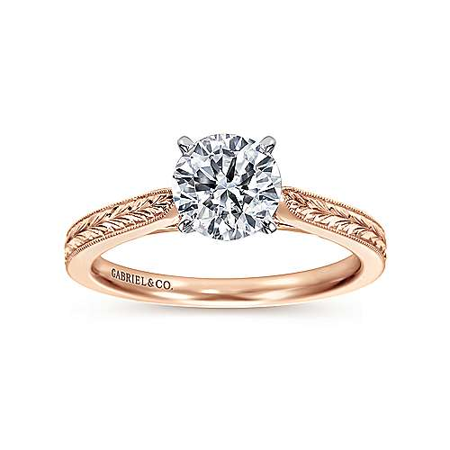Cora 14k White And Rose Gold Round Straight Engagement Ring angle 5