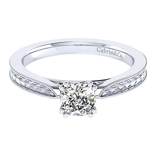 Gabriel - Cora 14k White Gold Cushion Cut Straight Engagement Ring