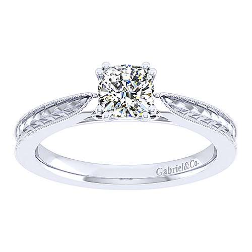 Cora 14k White Gold Cushion Cut Straight Engagement Ring angle 5