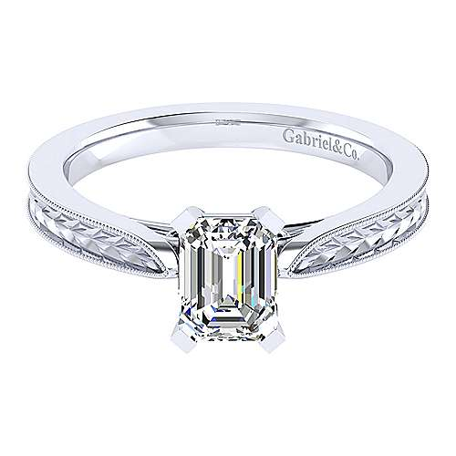 Gabriel - Cora 14k White Gold Emerald Cut Solitaire Engagement Ring