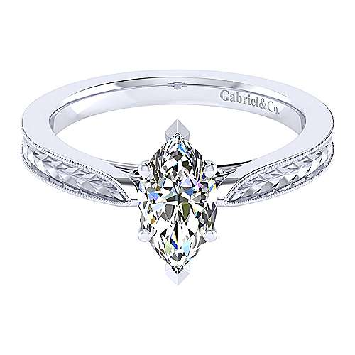 Gabriel - Cora 14k White Gold Marquise  Solitaire Engagement Ring