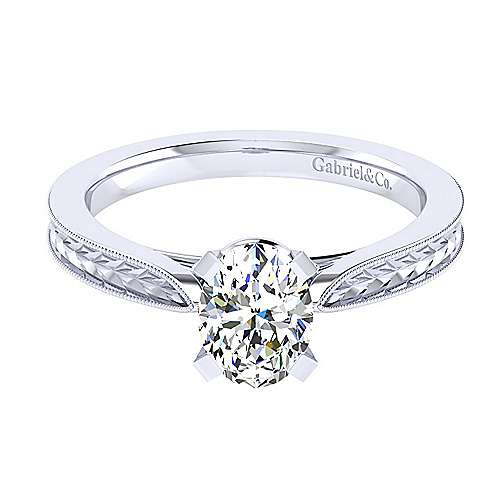 Gabriel - Cora 14k White Gold Oval Solitaire Engagement Ring