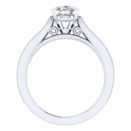 Cora 14k White Gold Oval Straight Engagement Ring angle 2