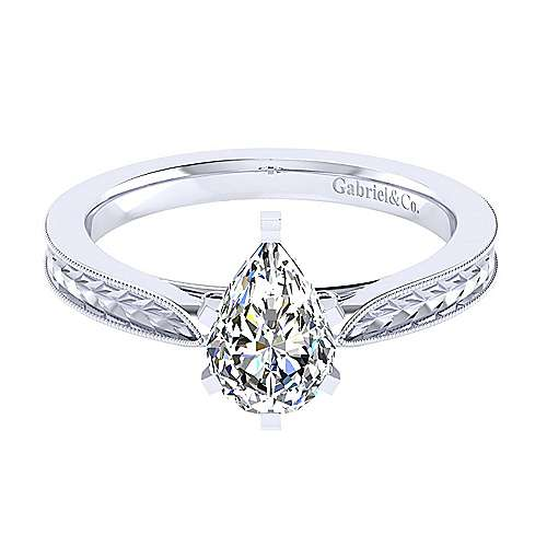 Gabriel - Cora 14k White Gold Pear Shape Straight Engagement Ring