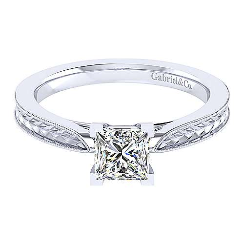 Gabriel - Cora 14k White Gold Princess Cut Solitaire Engagement Ring