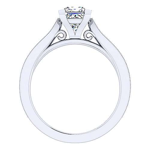 Cora 14k White Gold Princess Cut Straight Engagement Ring angle 2