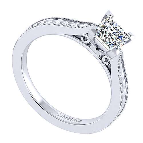 Cora 14k White Gold Princess Cut Straight Engagement Ring angle 3