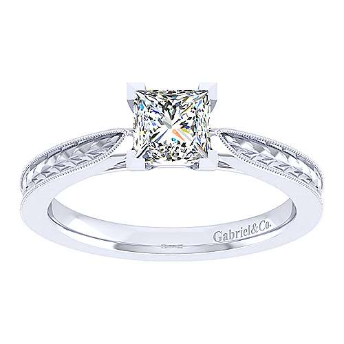 Cora 14k White Gold Princess Cut Straight Engagement Ring angle 5