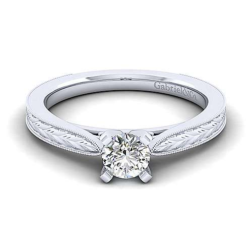 Gabriel - Cora 14k White Gold Round Solitaire Engagement Ring