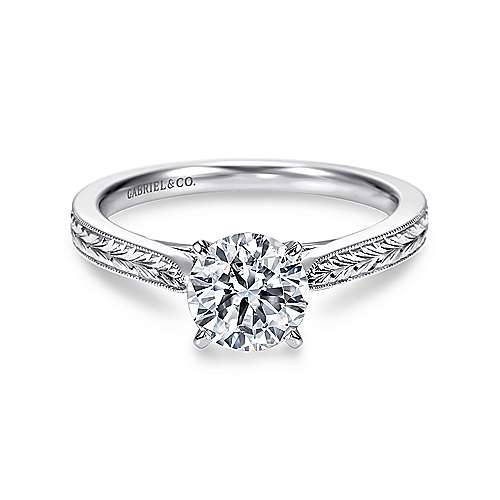 Cora 14k White Gold Round Solitaire Engagement Ring angle 1
