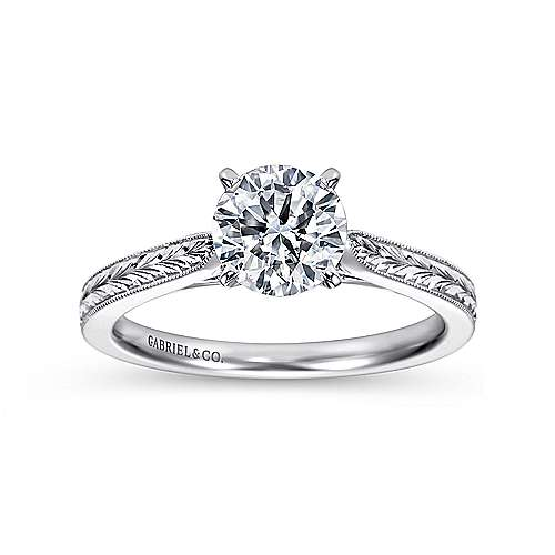 Cora 14k White Gold Round Solitaire Engagement Ring angle 5