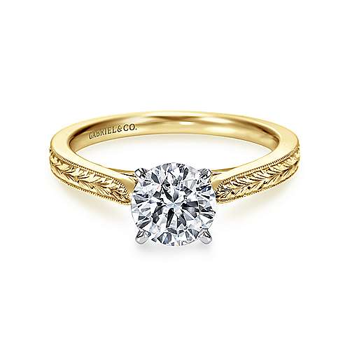 Gabriel - Cora 14k Yellow And White Gold Round Solitaire Engagement Ring