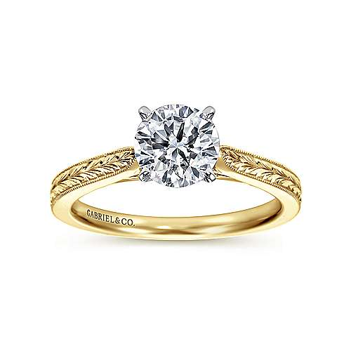 Cora 14k Yellow And White Gold Round Straight Engagement Ring angle 5