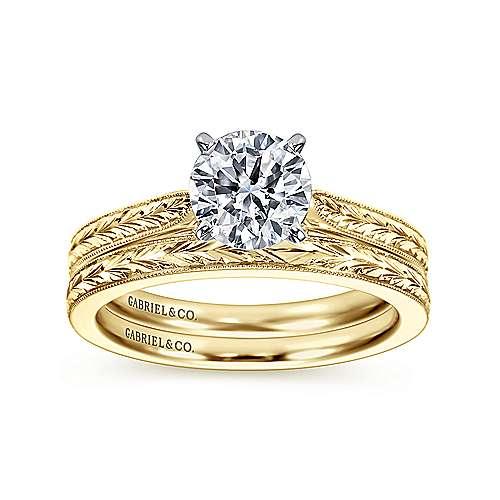 Cora 14k Yellow/white Gold Round Straight Engagement Ring angle 4