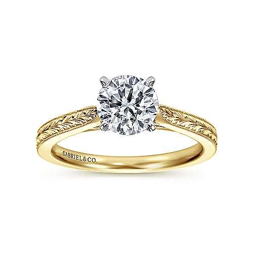 Cora 14k Yellow/white Gold Round Straight Engagement Ring angle 5