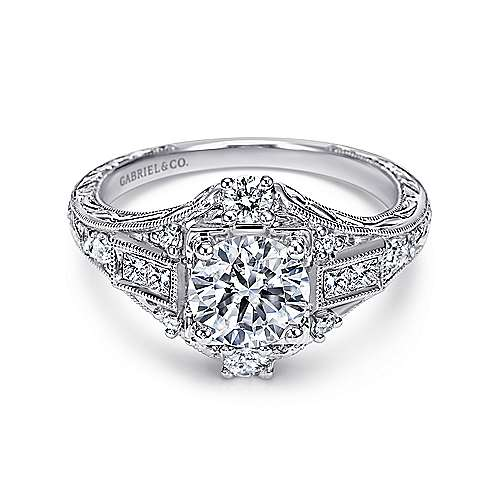 Gabriel - Coraline Platinum Round Halo Engagement Ring
