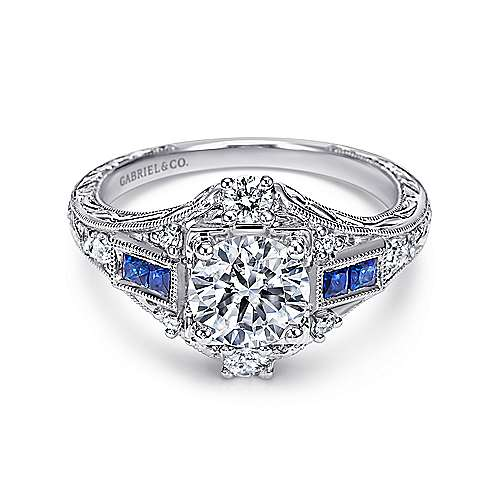 Gabriel - Coraline Platinum Round Halo Engagement Ring
