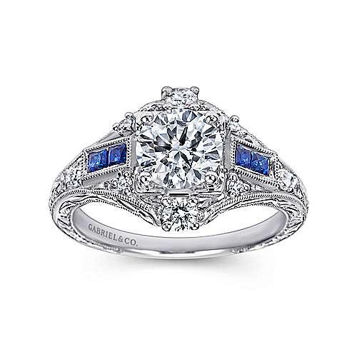 Coraline Platinum Round Halo Engagement Ring angle 5