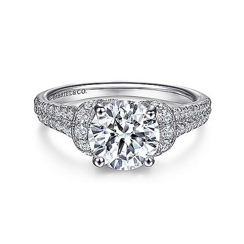 Gabriel - Corazon 18k White Gold Round Straight Engagement Ring