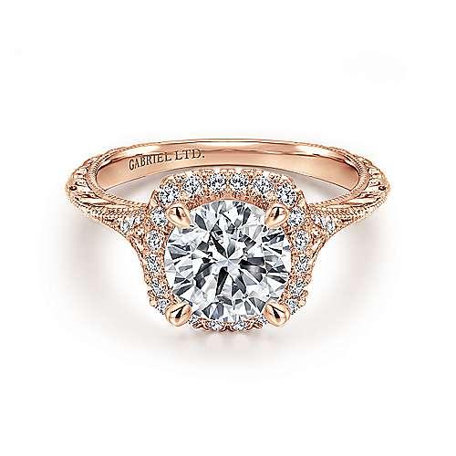 Gabriel - Cordula 18k Rose Gold Round Halo Engagement Ring