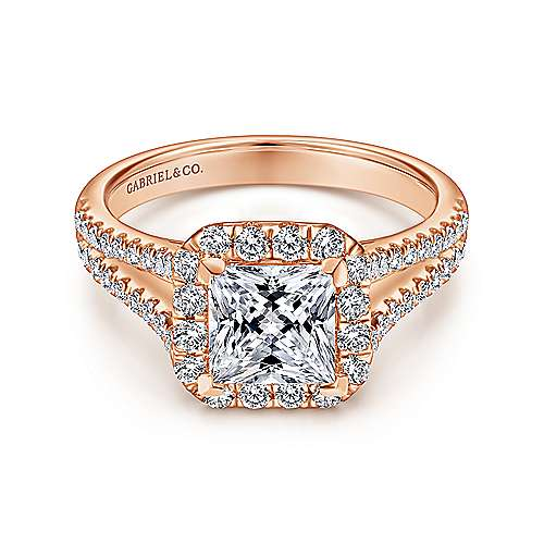 Gabriel - Corinna 14k Rose Gold Princess Cut Halo Engagement Ring