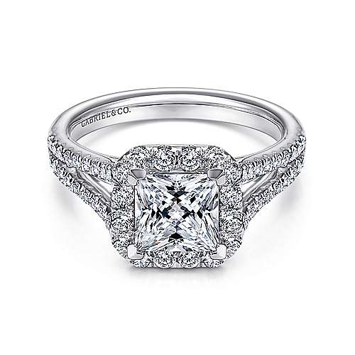 Gabriel - Corinna 14k White Gold Princess Cut Halo Engagement Ring