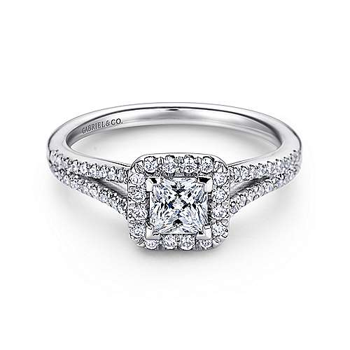 Corinna 14k White Gold Princess Cut Halo Engagement Ring angle 1