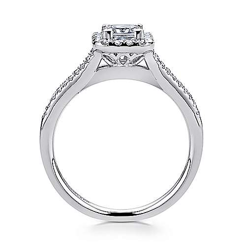 Corinna 14k White Gold Princess Cut Halo Engagement Ring angle 2