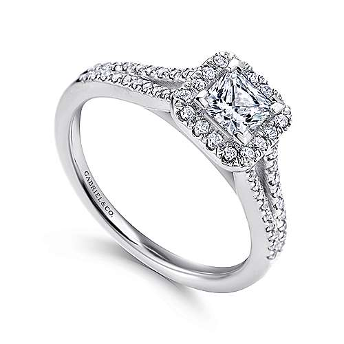 Corinna 14k White Gold Princess Cut Halo Engagement Ring angle 3