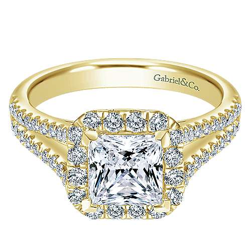 Gabriel - Corinna 14k Yellow Gold Princess Cut Halo Engagement Ring