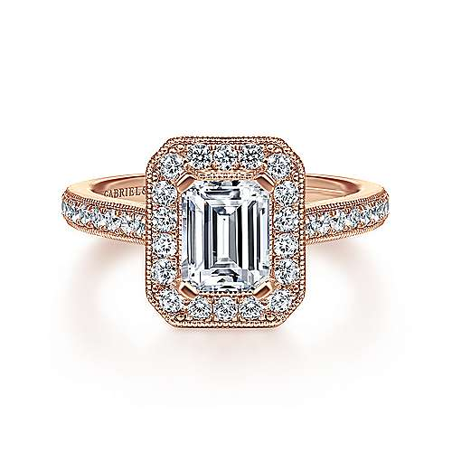 Gabriel - Corinne 14k Pink Gold Emerald Cut Halo Engagement Ring