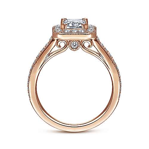 Corinne 14k Pink Gold Emerald Cut Halo Engagement Ring angle 2
