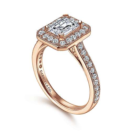 Corinne 14k Pink Gold Emerald Cut Halo Engagement Ring angle 3