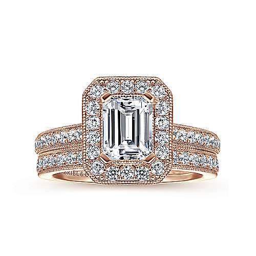 Corinne 14k Pink Gold Emerald Cut Halo Engagement Ring angle 4