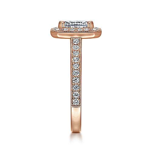 Corinne 14k Pink Gold Emerald Cut Halo Engagement Ring angle 5