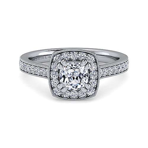 Gabriel - Corinne 14k White Gold Cushion Cut Halo Engagement Ring