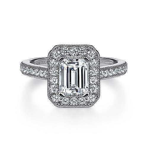 Gabriel - Corinne 14k Rose Gold Emerald Cut Halo Engagement Ring