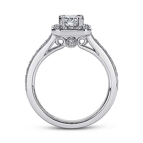 Corinne 14k White Gold Emerald Cut Halo Engagement Ring angle 2