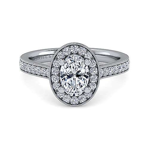 Gabriel - Corinne 14k White Gold Oval Halo Engagement Ring
