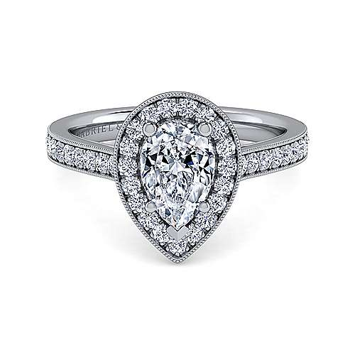 Gabriel - Corinne 14k White Gold Pear Shape Halo Engagement Ring