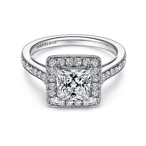 Corinne 14k White Gold Princess Cut Halo Engagement Ring angle 1