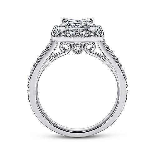 Corinne 14k White Gold Princess Cut Halo Engagement Ring angle 2