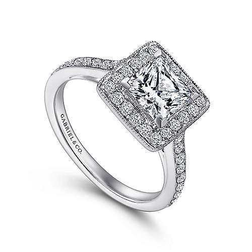 Corinne 14k White Gold Princess Cut Halo Engagement Ring angle 3