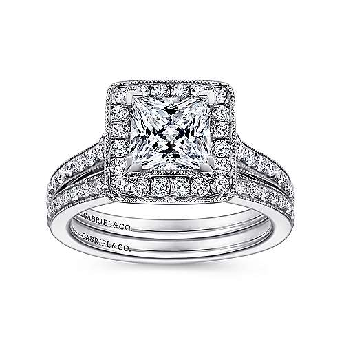 Corinne 14k White Gold Princess Cut Halo Engagement Ring angle 4