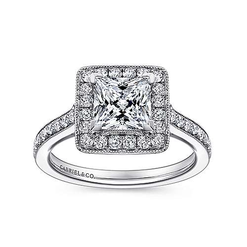 Corinne 14k White Gold Princess Cut Halo Engagement Ring angle 5