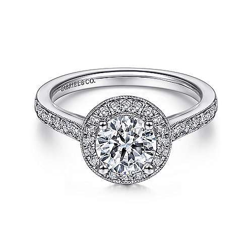 Gabriel - Corinne 14k White Gold Round Halo Engagement Ring