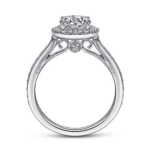 Corinne 14k White Gold Round Halo Engagement Ring angle 2